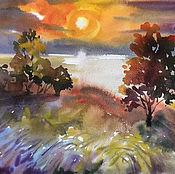 Картины и панно handmade. Livemaster - original item painting watercolor. Trees at sunset.. Handmade.