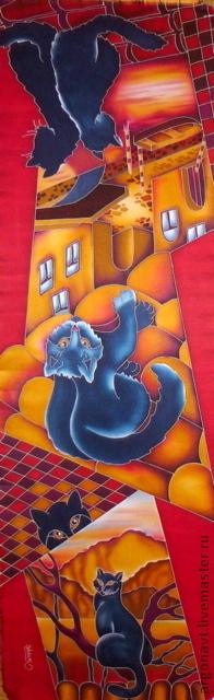 """Шарфы и шарфики ручной работы. Ярмарка Мастеров - ручная работа. Купить Шарф-батик """"Кошкин дом"""". Handmade. Батик, подарок"""