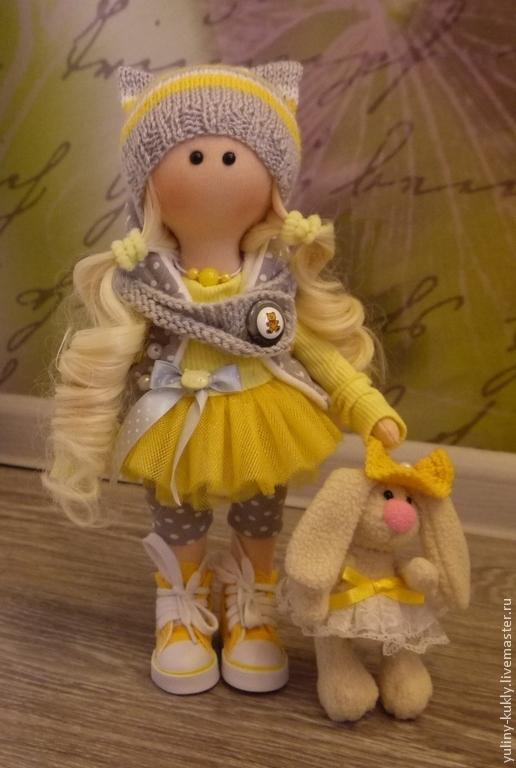 Коллекционные куклы ручной работы. Ярмарка Мастеров - ручная работа. Купить Текстильная куколка малышка Любочка. Handmade. Желтый, блондинка