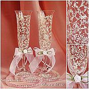Свадебный салон ручной работы. Ярмарка Мастеров - ручная работа Свадебные Бокалы Хризантемы. Handmade.