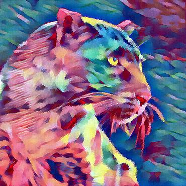 Картины и панно ручной работы. Ярмарка Мастеров - ручная работа Внимательный леопард. Handmade.