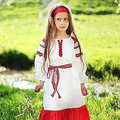Русский стиль ручной работы. Ярмарка Мастеров - ручная работа Платье-рубаха для девочки. Handmade.