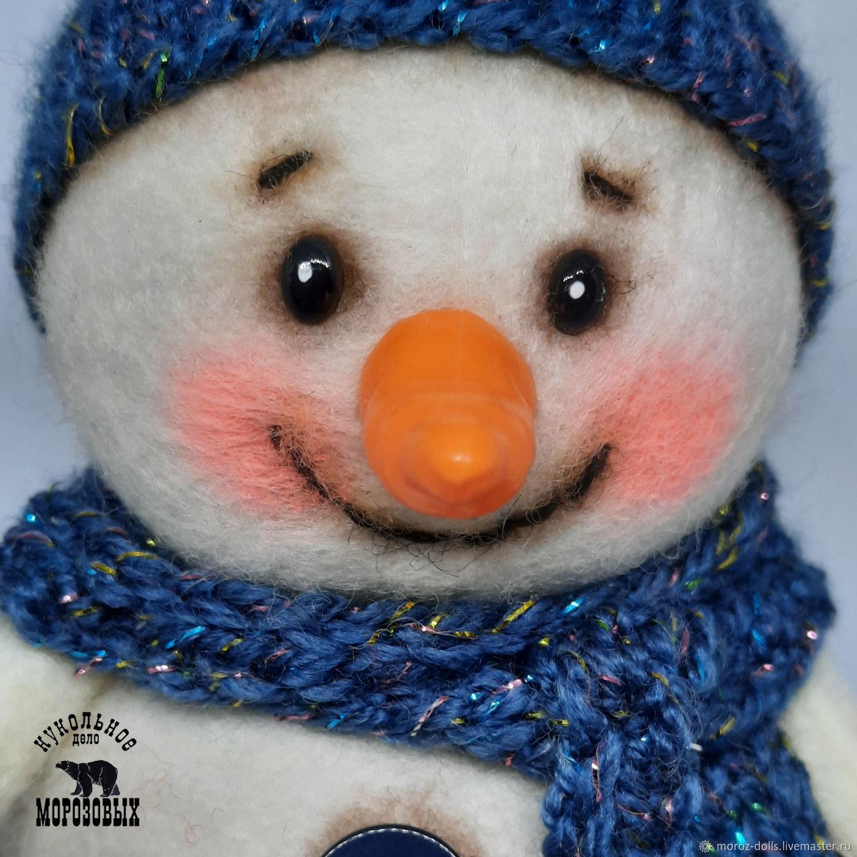 «Снеговик в  черничной шапочке» (большой), игрушка из шерсти, Интерьерная кукла, Лосино-Петровский,  Фото №1