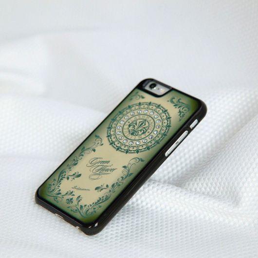 Для телефонов ручной работы. Ярмарка Мастеров - ручная работа. Купить Кейс для  iPhone  6/ 6s/6 plus Green Flower. Handmade.