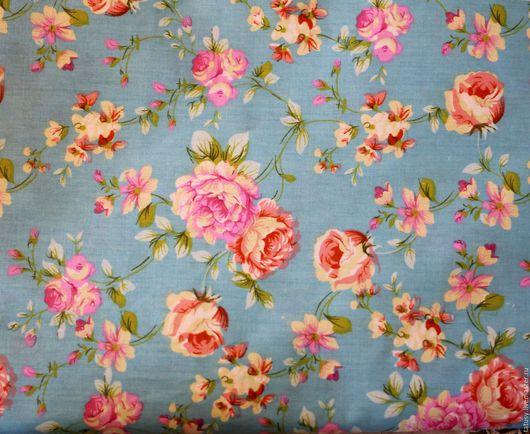 Шитье ручной работы. Ярмарка Мастеров - ручная работа. Купить Ткань хлопок премиум  Розы на голубом( прованс, шебби). Handmade.