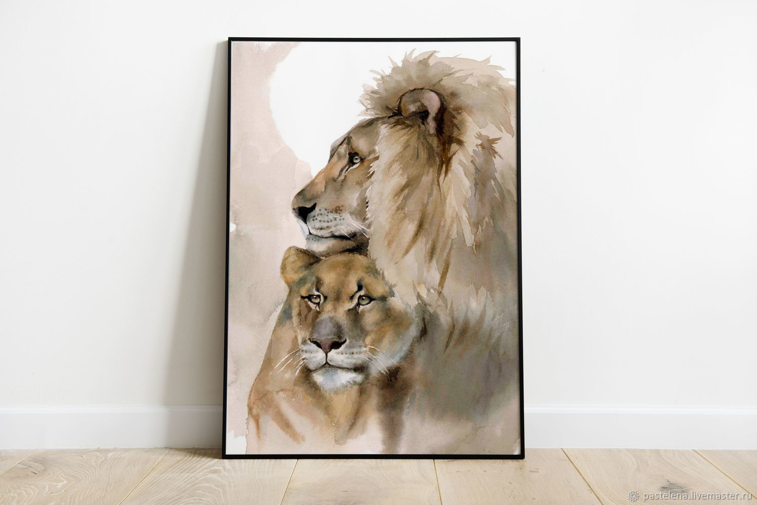 Painting watercolour a lion and lioness (brown grey pair is a gift to the lions), Pictures, ,  Фото №1
