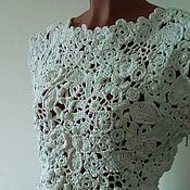 Одежда handmade. Livemaster - original item Top is crocheted of cotton in the technique of Irish lace. Handmade.