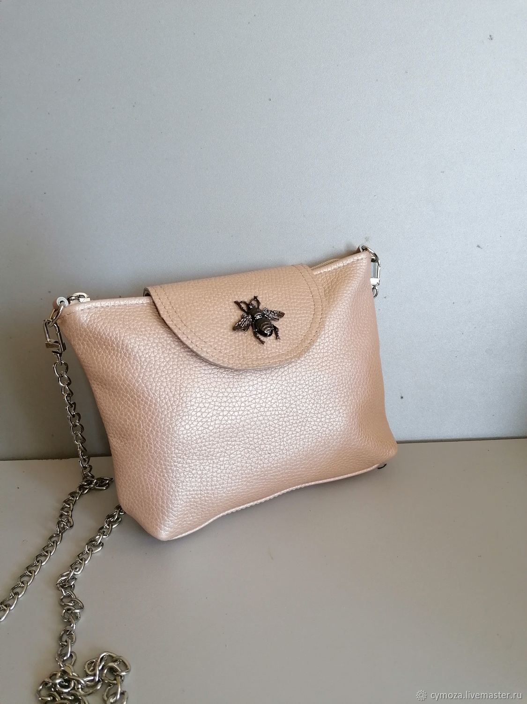 Mini handbag.Shoulder bag. Cream Metalic, Crossbody bag, Krasnodar,  Фото №1