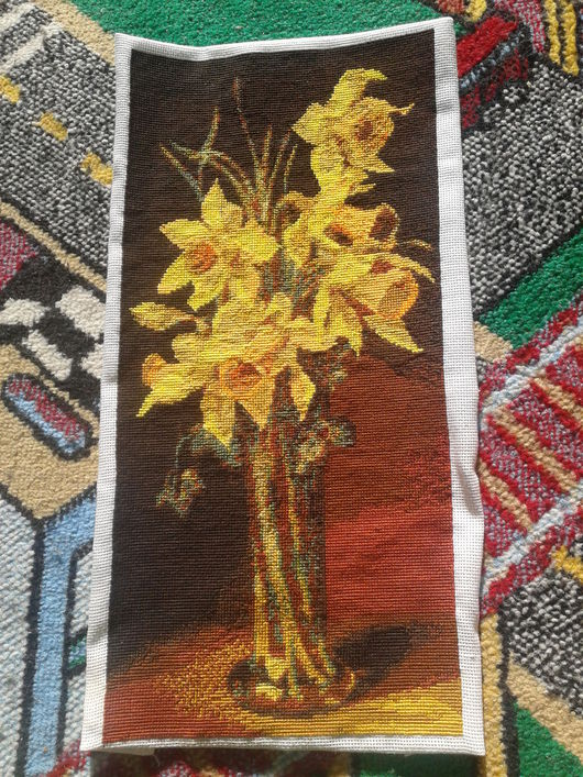 Картины цветов ручной работы. Ярмарка Мастеров - ручная работа. Купить Букет нарциссов. Handmade. Нарциссы, вышитые картины