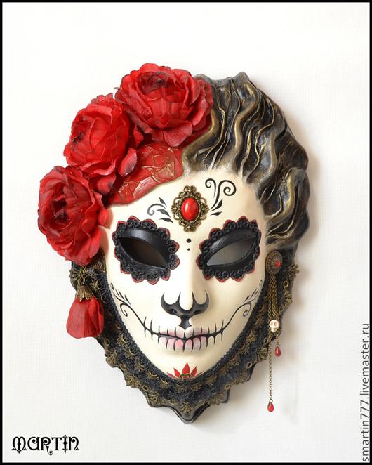 Интерьерные  маски ручной работы. Ярмарка Мастеров - ручная работа. Купить Катрина. Handmade. Dia de los muertos, белый