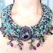 Украшения handmade. Livemaster - original item Bohemian necklace Amethyst pendant Bohemian jewelry Beaded necklace St. Handmade.