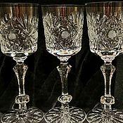 Винтаж handmade. Livemaster - original item Wine glasses CRYSTAL cups: large, excellent, rare! 4 pieces, USSR 1960`s.. Handmade.