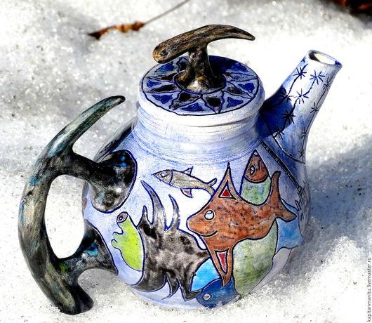 """Чайники, кофейники ручной работы. Ярмарка Мастеров - ручная работа. Купить Чайник """" Глубинные рыбы"""". Handmade. Комбинированный"""