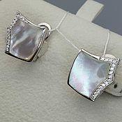 Украшения handmade. Livemaster - original item Silver earrings with mother-of-pearl 13h13 mm and cubic zirconia. Handmade.