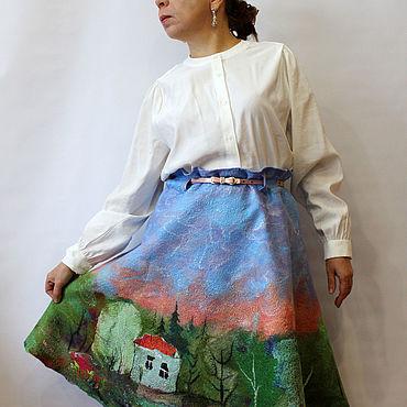 """Одежда ручной работы. Ярмарка Мастеров - ручная работа Валяная юбка """"Летний пейзаж"""" на шёлке!. Handmade."""