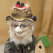 Stuffed Toys handmade. Livemaster - original item Gnome with birds. House Original gift. Handmade.