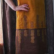 Одежда ручной работы. Ярмарка Мастеров - ручная работа Платье Горчица с вензелями из льна с ручной верховой набойкой. Handmade.
