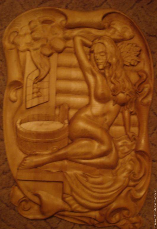 """Быт ручной работы. Ярмарка Мастеров - ручная работа. Купить Панно для бани """"С легким паром"""". Handmade. Коричневый, ню"""