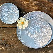 Наборы посуды ручной работы. Ярмарка Мастеров - ручная работа Набор Керамический Кружево. Handmade.
