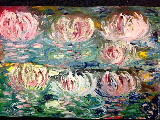 Картины цветов ручной работы. Ярмарка Мастеров - ручная работа. Купить Поляна лотосов 4.смешанная техника. Handmade.