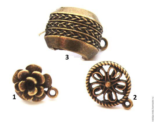 Для украшений ручной работы. Ярмарка Мастеров - ручная работа. Купить Пуссеты серьги гвоздики античная бронза. Handmade. Хаки