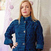 Одежда handmade. Livemaster - original item Knitted jacket with buttons with fur trim.. Handmade.