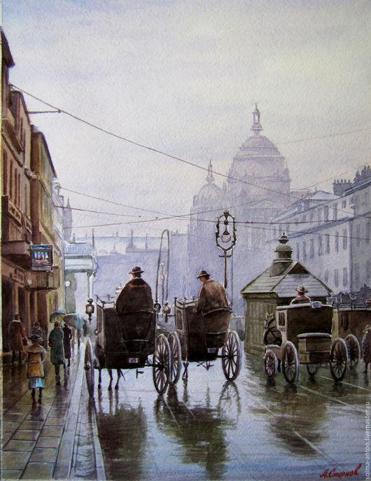 """Город ручной работы. Ярмарка Мастеров - ручная работа. Купить """"Лондонский дождь"""". Handmade. Комбинированный, дождь, люди, акварельная картина"""