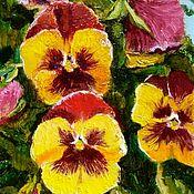 Картины и панно handmade. Livemaster - original item Painting of flowers pansies(2). Handmade.