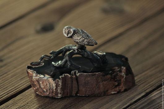 """Статуэтки ручной работы. Ярмарка Мастеров - ручная работа. Купить статуэтка """"сова"""" на агате. Handmade. Статуэтка, статуэтки из металла, сова"""
