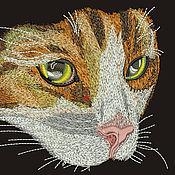 Дизайн и реклама ручной работы. Ярмарка Мастеров - ручная работа мордочка котика машинной вышивки. Handmade.