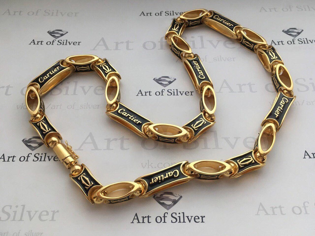 Мужская серебряная позолоченная цепочка Cartier ( картье). Серебро ... 4f0d42eecc5f5