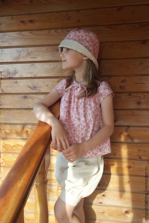 Одежда для девочек, ручной работы. Ярмарка Мастеров - ручная работа. Купить Льняной комплект детский: блузка, шорты и панама. Handmade.
