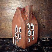 Для дома и интерьера ручной работы. Ярмарка Мастеров - ручная работа Домик душевный из глины подсвечник. Handmade.