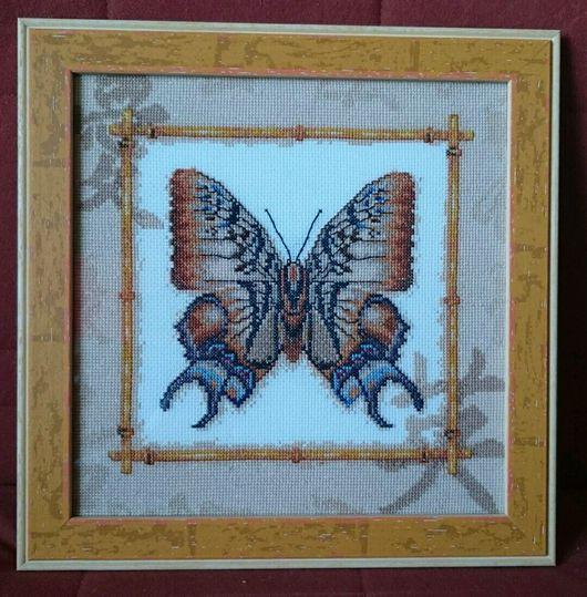 """Животные ручной работы. Ярмарка Мастеров - ручная работа. Купить Вышитая крестом картина """"Бабочка"""" (Полиура дехана).. Handmade."""