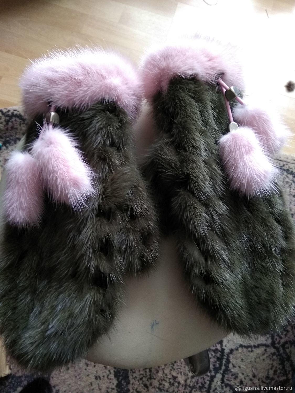 варежки из вязаной норки темно оливкового цвета купить в интернет