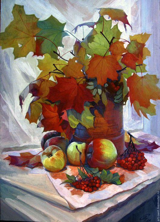 Натюрморт ручной работы. Ярмарка Мастеров - ручная работа. Купить Осенний натюрморт с кленовыми листьями. Handmade. Комбинированный, живопись акрилом