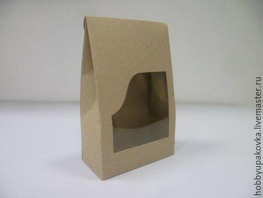 Упаковка ручной работы. Ярмарка Мастеров - ручная работа. Купить Коробка-пакет крафт 19х12х6 см с прозрачным окном. Handmade.