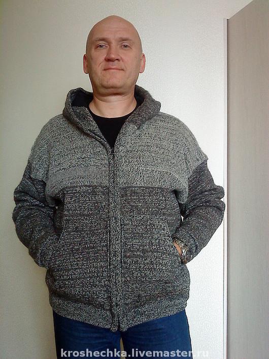 """Верхняя одежда ручной работы. Ярмарка Мастеров - ручная работа. Купить Вязаная шерстяная мужская куртка """"Осенняя"""". Handmade."""