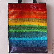Сумки и аксессуары handmade. Livemaster - original item A Large bag of water snake rainbow summer. Handmade.