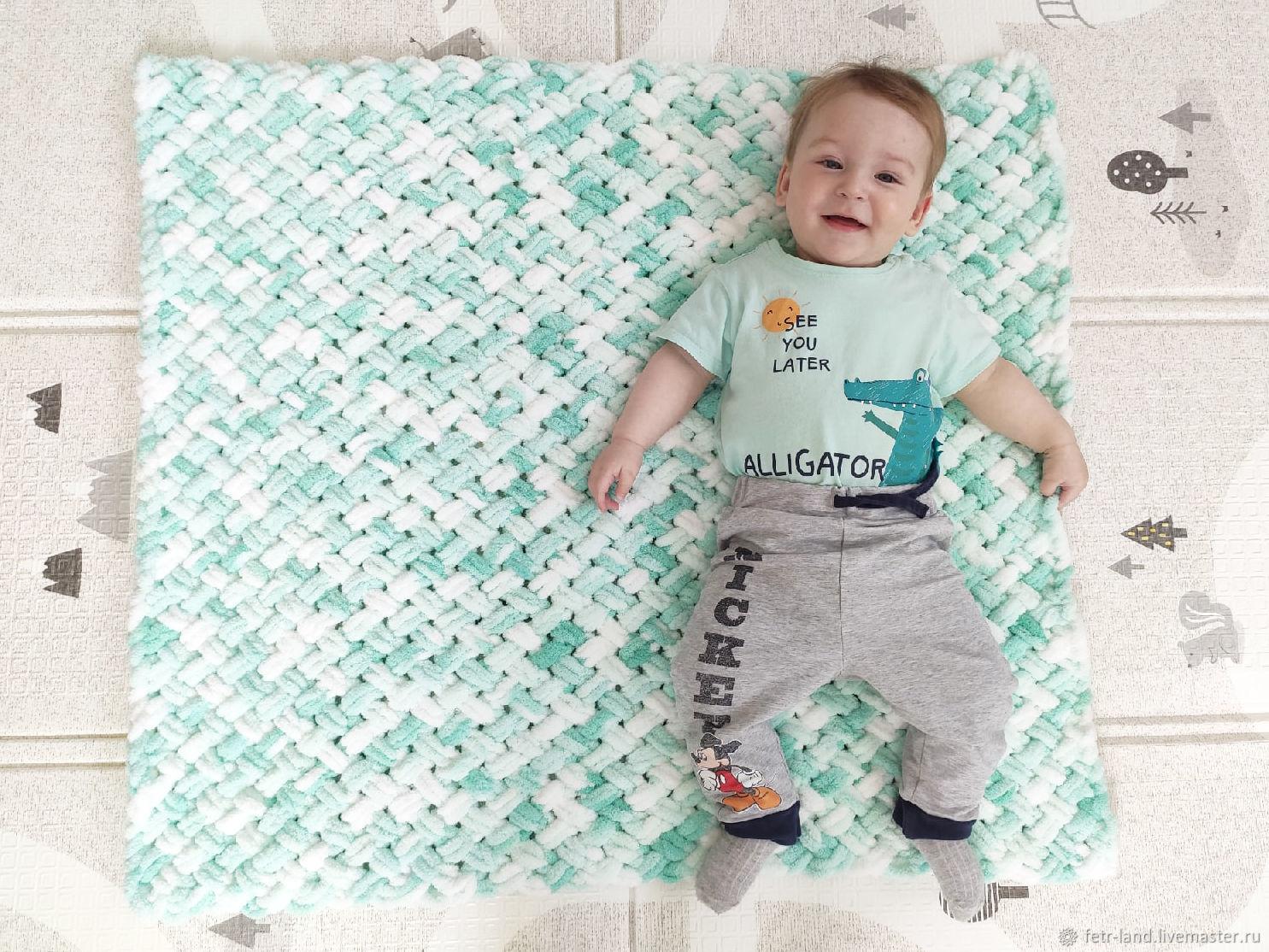 Мягкое вязаное детское одеяло для мальчика бирюзовое, Одеяло для детей, Белгород,  Фото №1