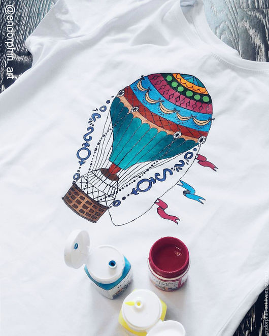 Футболки, майки ручной работы. Ярмарка Мастеров - ручная работа. Купить Роспись футболки Воздушный шар. Handmade. Роспись футболок