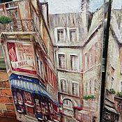 Панно ручной работы. Ярмарка Мастеров - ручная работа Панно 30х40 деревянное с ручной отрисовкой Парижское кафе-1 W0370. Handmade.