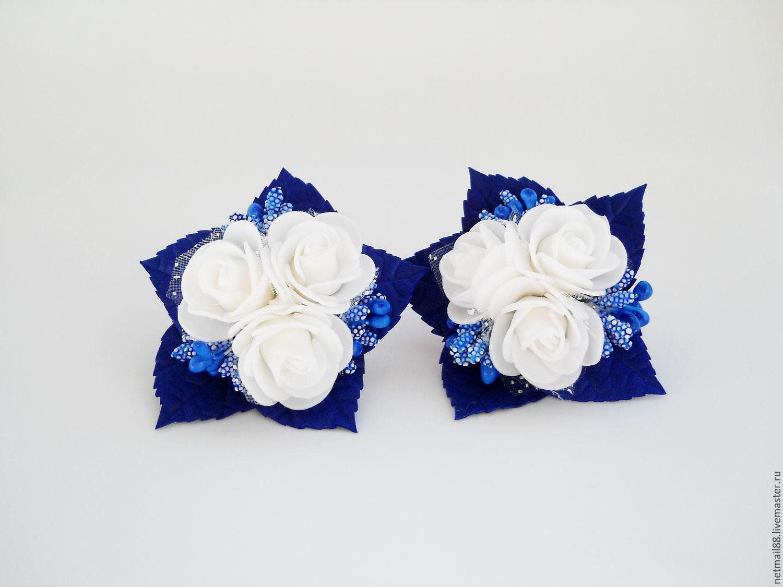 Школьные бантики Букетики роз, резиночки для школьницы