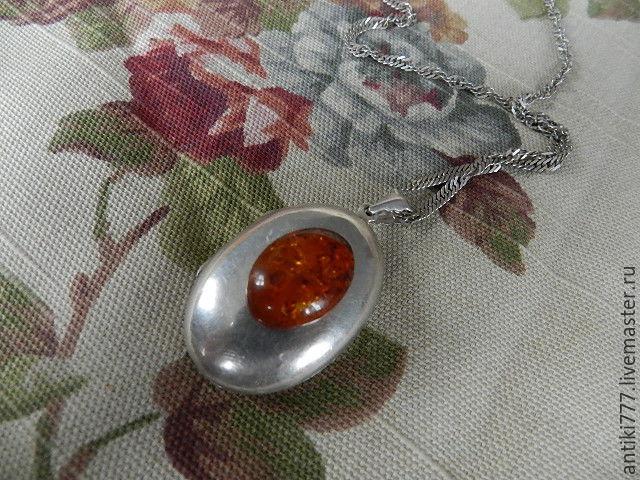 Vintage silver Loket c amber!, Vintage pendants, Moscow,  Фото №1
