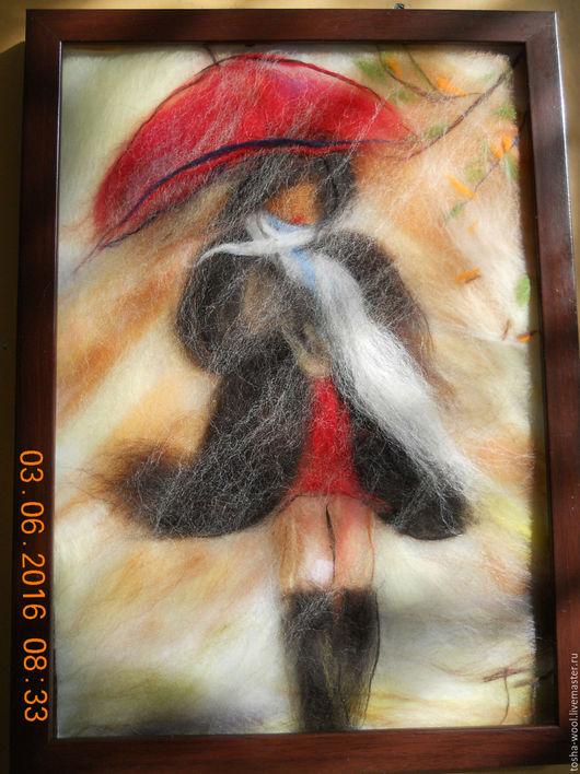 Люди, ручной работы. Ярмарка Мастеров - ручная работа. Купить Дождь. Handmade. Комбинированный, картина из шерсти, дождь, шерсть альпаки