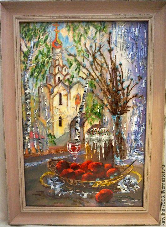 """Натюрморт ручной работы. Ярмарка Мастеров - ручная работа. Купить Картина""""Вербное Воскресение"""". Handmade. Комбинированный, картина в подарок, православный подарок"""