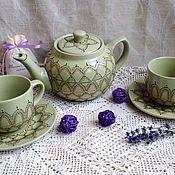 """Посуда ручной работы. Ярмарка Мастеров - ручная работа Чайный набор """"Нежность"""". Handmade."""