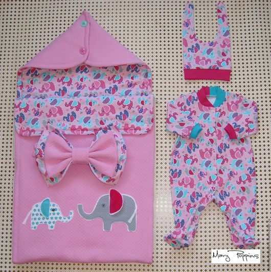 """Для новорожденных, ручной работы. Ярмарка Мастеров - ручная работа. Купить Комплект на выписку """"Розовый слон"""". Handmade. Розовый, слон"""