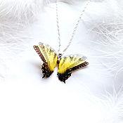 """Украшения ручной работы. Ярмарка Мастеров - ручная работа Кулончик с бабочкой """"Лучик Лета"""", Кулон-бабочка, Бабочка на шею. Handmade."""