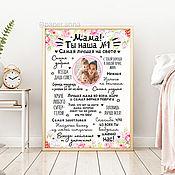 Фотокартины ручной работы. Ярмарка Мастеров - ручная работа Постер для мамы на День Матери подарок мамочке плакат. Handmade.
